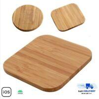 Chargeur sans fil induction Qi pour Apple iphone 8 8+ X Samsung en bois bambou