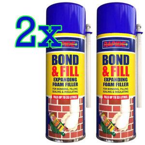 2x 500ML EXPANDING FOAM PU FILLER BEST FOR BONDING FILLING SEALING & INSULATING
