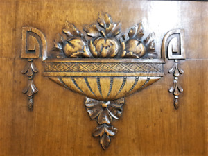 Art deco decorative wood carving panel Antique french architectural salvage
