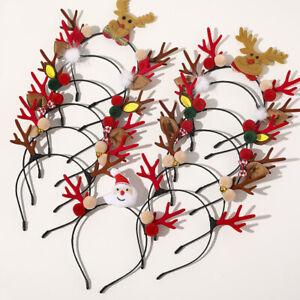 Adult Kids Christmas Xmas Novelty Headband Hat Costume Hair Clip Reindeer Santa#