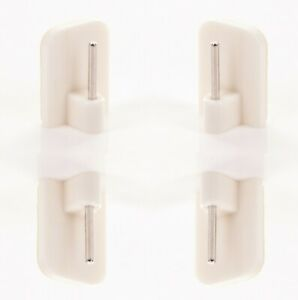 WHITE CURTAIN ROD 4x Stick On Wire Rail Hooks Net Voile Curtain Upvc Support UK