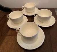 Set of 4 Wedgwood Edme Ribbed Cups and Saucers  in Ivory