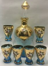 VINTAGE BOHEMIAN COBALT BLUE GLASS GOLD ENAMEL OVERLAY DECANTER WITH 6 GLASSES