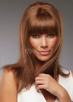 100% Real Hair! Chestnut Brown Wig Bangs Straight Medium Wig For Women