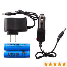 2PCS 3200mAh 3.7V 18650 Rechargeable Li-ion Battery+AC&Car Charger for Head Lamp