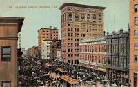 A Busy Day in Oakland, California, Street Scene, Early Postcard, Unused