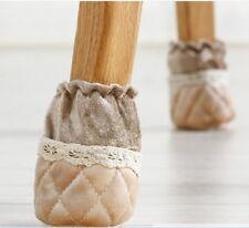 4Pcs Chair Foot Cover Table Leg Woolen Socks Anti-slip home Anti-noise - beige