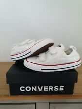 Girls Converse Shoes,Trainers Size 8 Infant,Embroidery Flowers,White,Very Good