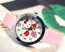Girl Kid Pink Hello Kitty Synthetic leather Wrist band Watch Xmas Gift for her