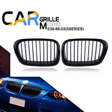 Pair Gloss Black Kidney Grille Grill Cover For BMW E39 5 Series E39 M5 1997-2003