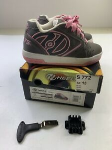 HEELYS Propel 2.0 Pink/Gray Lace Up Skating Shoes Girls Youth Size 13 w/ Box