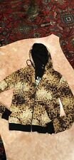 Womens ED HARDY REVERSIBLE HOODED ZIP UP JACKET SIZE M WITH SWAROSKY CRYSTALS
