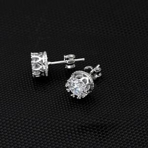 18K SILVER PLATED CLEAR CROWN STUD EARRINGS 4MM MADE WITH SWAROVSKI CRYSTALS WG8
