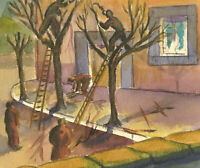 F. E. Horne - A Pair of Mid 20th Century Watercolours, Vibrant Street Scenes