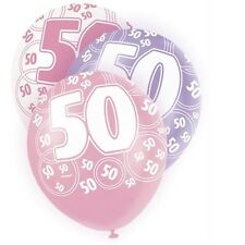 Pink Glitz 50th Birthday Age 50 Pack 6 Latex Party Balloons Suit Air Or Helium