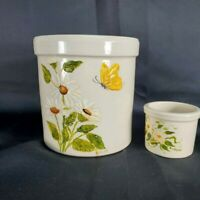 Hand Painted Stoneware Crock Butter Cup Floral White Daisy Butterfly  6.6 X 6 in
