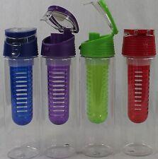 New Carteret Flip Top Tritan Infusion Water Bottle 4 Pack Red Blue Purple Green