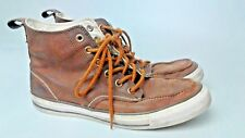 Converse MEN'S HI TOP tutte le Star Marrone Pelle Scarpe Da Ginnastica Tg UK 8