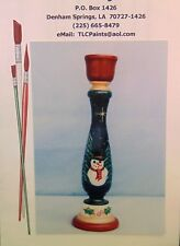 Wooden Taper Candle Holder Tole Painting Pattern FROSTY IN THE FOREST TLC Design