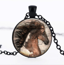Horse Pendant Black Glass Cabochon Necklace chain Pendant Wholesale