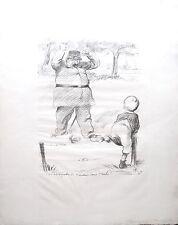 Lithographie de Hermann-Paul, L'enfant et le gardien, 1910
