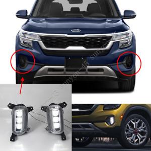 FOR KIA SELTOS 2020 2021 LED DRL Front Bumper Fog Lamp Kit 2pcs Running Light