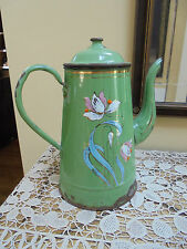 Antique French Green Enamelware Hand Painted Biggin Coffee Pot