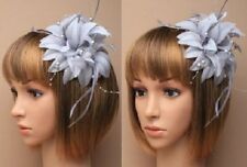 Ascot/Races fascinator hair clip silver grey with hanging pearls, wedding. races