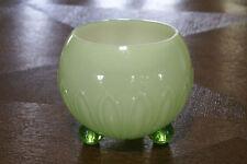 Czechoslovakia Bohemian Art Glass Bowl Green Vase Ball Feet Milk Czechoslovakian