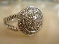 $1300 DAVID YURMAN PETITE ALBION STERLING PAVE DIAMOND RING