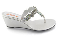 Womens Low Wedge Diamante Toe Post Ladies Sparkly Dressy Party Sandals Size 3-9