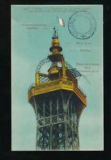 France PARIS Sommet de la Tour Eiffel  + tower cachet c1920/30s? PPC