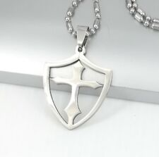 """Pendant 24"""" 60-61cm Chain Necklace Silver Knights Shield Cross Stainless Steel"""