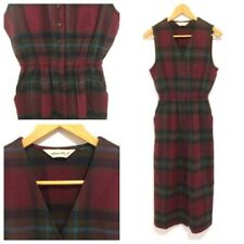 Eddie Bauer Flannel Dress Sleeveless Fall Winter Layering Button Front Plaid Sm
