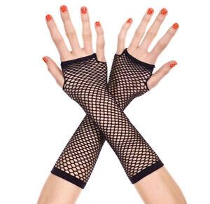 1 Pair Women's Thick mini diamond net arm warmer Long Fingerless Fishnet Gloves