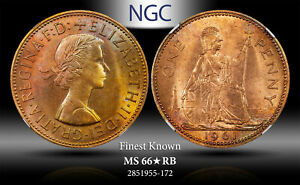 1961 GREAT BRITAIN 1 PENNY NGC MS 66* RB STAR FINEST KNOWN WORLDWIDE
