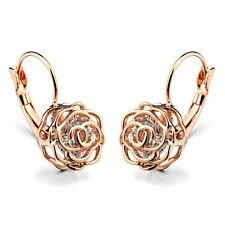 Rose Gold Filled Made with Swarovski Crystal Lever Back Rose Earring IE19