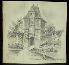 Maison des templiers près Jumièges signature à déterminer dessin original c1900