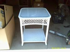 Antique White Wicker Tray Table Glass Top ~Sturdy!~