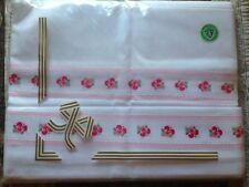 Vintage Antique NOS Swiss Cotton Linen Double Bed Set European Luxury Embroider