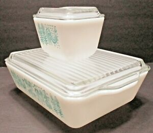 2 Vintage Pyrex Amish BUTTERPRINT Refrigerator Dishes 501 and 503