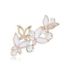 18K ROSE GOLD PLATED & GENUINE CUBIC ZIRCONIA & WHITE ENAMEL BUTTERFLY BROOCH