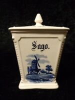 Antique Wächtersbach Ceramics Storage Sago - Hollanddekor Windmill - around 1900