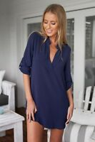 Women's Lady Solid Chiffon T Shirt Long Sleeve V-neck Blouse Tops Loose Office