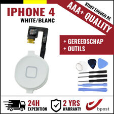 AAA+ Home Button Bouton Assembly & Flex Cable White + Tools For iPhone 4