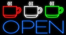 "New Coffee Tea Cafe Open Beer Light Lamp Neon Sign 32"" Poster Decor Artwork"