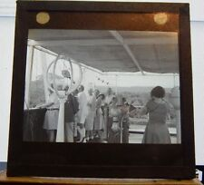 Antique Glass slide People on Merchant Ship Panama Canal 1930's