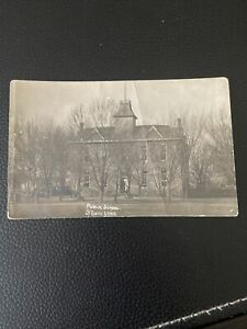 1912 RPPC Photo Postcard--ARKANSAS-Springdale-View of Public School Speece Aaron