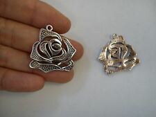10 rose flower pendants charm tibetan silver antique style wholesale jewellery