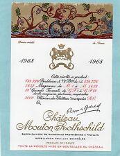 PAUILLAC 1EGCC ETIQUETTE CHATEAU MOUTON ROTHSCHILD 1968 1.5 L DECOREE §27/04/17§